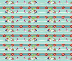 tropical stripes M2454- lagoon fabric by drapestudio on Spoonflower - custom fabric
