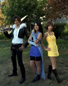 Squall Leonhart, Rinoa Heartilly, and Selphi Tilmitt, from the video game Final Fantasy VIII