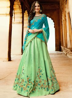 Buy Sea Green Silk Embroidery Work A Line Lahenga Choli 101619 online at lowest price from vast collection at m.indianclothstore.c.