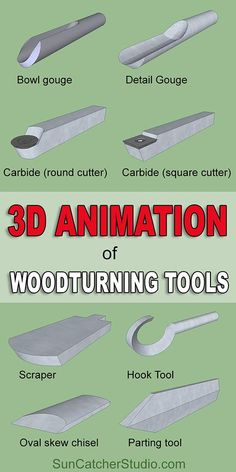 3D animation of woodturning tools, wood, turn, bowl, detail, gouge, carbide, round, cutter, scraper, hook tool, oval skew chisel, parting tool.