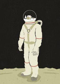 astronaut snow globe head #illustration #weird