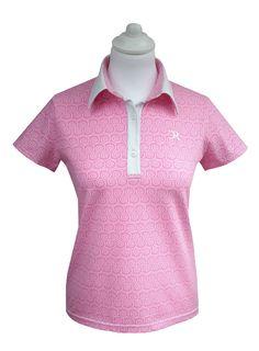 Polo Golf femme spirale rose manches courtes. Le modèle existe aussi en bleu.