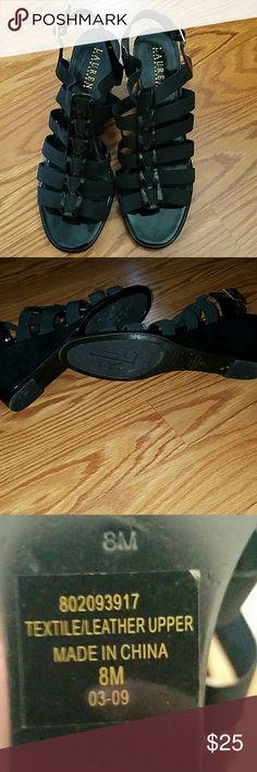 """WEEKEND SALE!!! ❣ Ralph Lauren Sandals ❣ Beautiful Ralph Lauren sandals. Soft elastic straps. Used only once. Approx 2.75"""" heel. Ralph Lauren Shoes Wedges"""