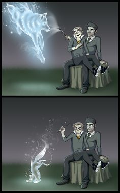 Sterek - Expecto Patronum  Wonderful, now I must absolutely read fanfiction where Stiles is a Gryffindor and Derek a Slytherin.