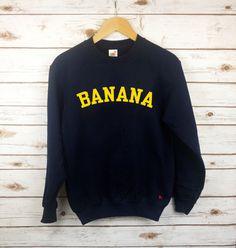 BANANA Sweater Fruit Food Fashion Blogger Minions Sweatshirt RockOnRuby Navy Top S - XXL by RockOnRuby on Etsy https://www.etsy.com/listing/240616365/banana-sweater-fruit-food-fashion