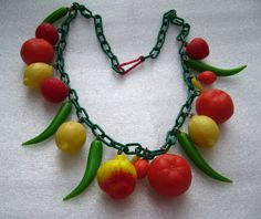 Vintage Carmen Miranda fruit salad necklace.