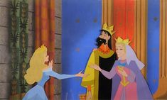 Aurora, King Stefan, and Queen Leah Sleeping Beauty (Walt Disney Studio, 1959) Full color animation cel Panorama