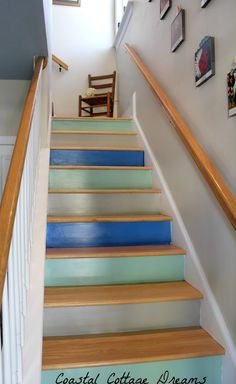multi colored stair risers   Indoor living   Pinterest