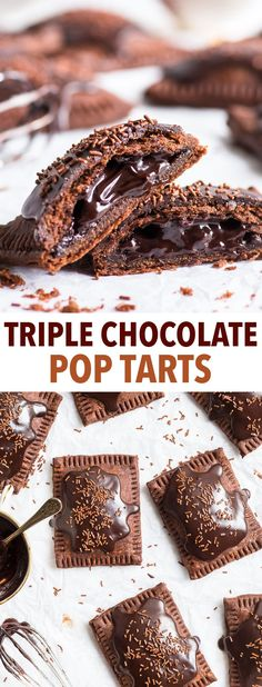 Triple Chocolate Pop Tarts (Gluten Free) - Imagine the most chocolatey dessert you can… and then multiply it by a hundred. What you get is these triple chocolate gluten free pop tarts. Gluten Free Pie, Gluten Free Bakery, Gluten Free Desserts, Dairy Free Recipes, Gluten Free Poptarts, Chocolate Sin Gluten, Delicious Chocolate, Chocolate Recipes, Dessert Sans Gluten