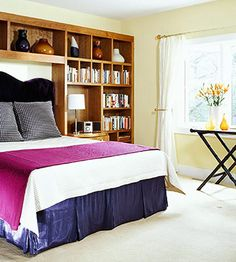 Open shelving is the perfect solution for almost any storage woes. Having a wall of storage eliminates the need for other containers and frees up floor space--ideal for any busy household! http://www.bhg.com/rooms/bedroom/storage-headboards/?socsrc=bhgpin010315wallofstorage&page=3