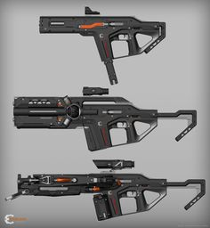 The goal was to create a modular rifle with changeable parts that fit each other and at the same time to change totally the function of weapon and the way it works. Sci Fi Weapons, Weapon Concept Art, Weapons Guns, Fantasy Weapons, Guns And Ammo, Sci Fi Fantasy, Cyberpunk, Sci Fi Waffen, Rifles