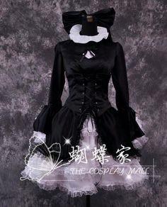 Black Butler Cosplay Costume Sweet Lolita Ball Gown Bow Wedding Lace Dress A2110