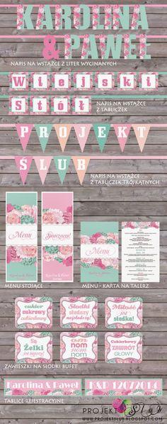 projekt ŚLUB - zaproszenia ślubne, oryginalne, nietypowe dekoracje i dodatki na wesele: pudrowy róż