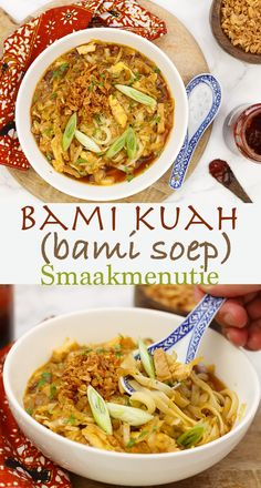 "Bami kuah (bami soup) soup ""I'm so bored! Spicy Recipes, Easy Healthy Recipes, Asian Recipes, Soup Recipes, Healthy Slow Cooker, Healthy Soup, Asian Kitchen, Indonesian Food, Caribbean Recipes"