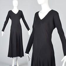 OSFM Vintage 1990s 90s Bias Cut Silk Dress Long Sleeve Goth Flowy Full Skirt
