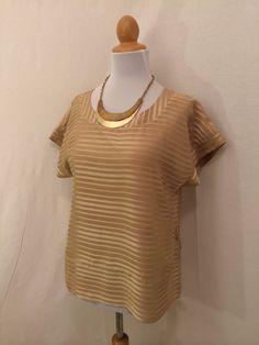H&M Brown Cap Sleeved Striped Shirt Blouse 6