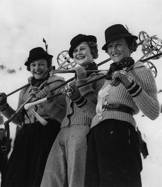 At St. Moritz, these smiling skiers don smart sweaters and traditional Tyrolean hats - 1935