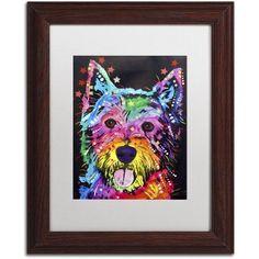 Trademark Fine Art Westie Canvas Art by Dean Russo, White Matte, Wood Frame, Size: 11 x 14, Brown