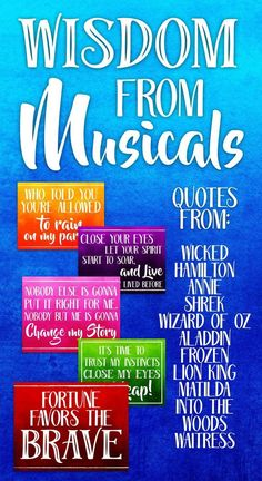 This Print and Post bulletin board pack highlights inspiration motivational and wise quotes from 30 different musicals! Whether you are a devote fan of Wicked Waitress or Wizard of Oz you'll find the right quote to inspire and delight. Music Education Quotes, Music Quotes, Learning Quotes, Teaching Theatre, Teaching Music, Middle School Choir, Drama Teacher, Drama Class, Music Bulletin Boards