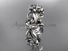 14kt white gold diamond flower wedding ring, engagement ring, wedding band ADLR217 Price $785.00