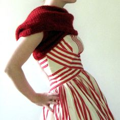 knit shrug - love this old anthropologie red-stripe dress too!