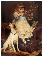 JACK RUSSELL SMOOTH FOX TERRIER DOG ART PRINT - Charles Burton Barber Violin Cat