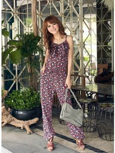 JU0004AD33,cheap Floral ruffled collar jumpsuit wholesale