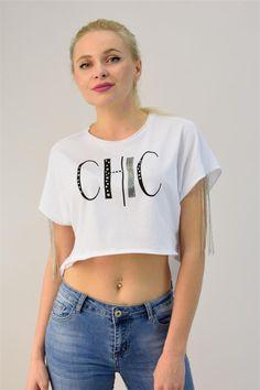 Γυναικεία μπλούζα cropped με αλυσίδα Crop Tops, Chic, Collection, Women, Fashion, Shabby Chic, Moda, Elegant, Women's