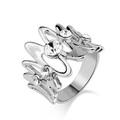 Silve Note Shape with Inlaid Rhinestone Ring