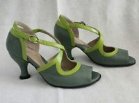 FLUEVOG Womens Bellevue Fannie Porter heels shoes GLASS PISTACHIO 6 NEW lime