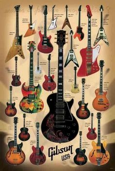 24 Models Electric Guitar Brand Gibson Paper Poster Music Instrument