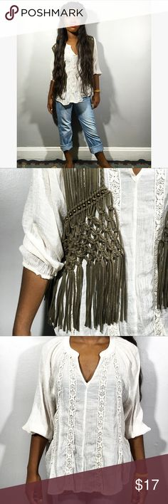 Boho Outfit Size large fringe vest with studded accents available for $17+sh. Size medium vneck blouse now available for $9+sh. Vintage leather #festival #fall #fashion #style #vintage #upcycled #thrift #apparel #fringe #vest #top #blouse #shoes #loafers #mixmatch #accessory #boho #bohofashion #maanc #musenc #museartandapparel Tops Blouses