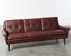 Vintage Danish Modern Leather Sofa