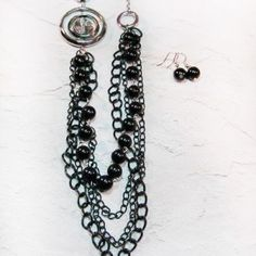 Black and Silver Long Necklace