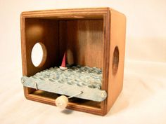 Kinetic Nautical Art, Wood Sailboat Automaton Sculpture, Small Wooden Puzzle Box