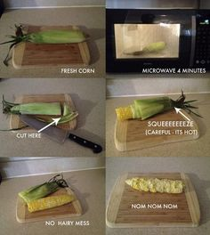 too easy microwave corn on the cob with no mess. Must remember for summer!