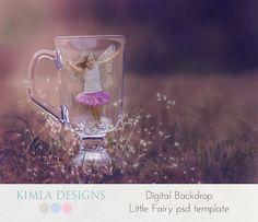 Digital Backdrop Little Fiary psd template by KimlaDesigns on…