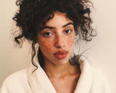 Orange makeup ideas.Orange lip. Orange fake freckles. Soft eyeshadow