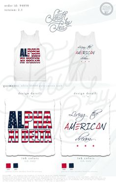 Alpha Xi Delta | Living the American Dream | South by Sea | South by Sea College | Alpha Xi Delta Flag Tee | Patriotic Sorority Designs | Sorority Shirts | Sorority Tanks