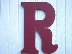 Shabby chic Wedding Guestbook Alternative Letter Initial R Extra Large 24 inch Red Distressed Wooden Rustic Wedding Decor Wall Hanging on Etsy, $59.00