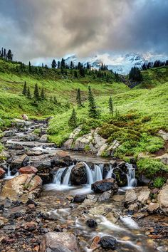 Mount Rainiers Edith Creek by Pierre Leclerc Photography Water Aesthetic, Mount Rainier National Park, Washington State, Water Features, Acre, Waterfall, National Parks, Scenery, Earth