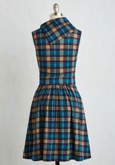Coach Tour Dress in Teal Plaid   Mod Retro Vintage Dresses   ModCloth.com