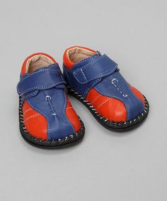 Blue & Orange Leather Oxford by Pipsqueaks
