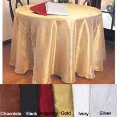 @Overstock - Add festivity to any table with a lustrous 90-inch round tablecloth. This polyester tablecloth is ideal for layering or can be used by itself. The fabric's light shimmer makes it perfect for weddings, formal dinners, or religious services.http://www.overstock.com/Home-Garden/Shimmery-Round-90-inch-Sheer-Tablecloth/5401832/product.html?CID=214117 $38.49
