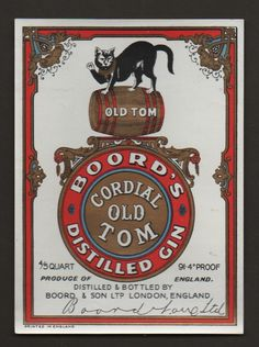 Boord 039 S Cordial OLD TOM Distilled GIN 1930 039 S Bottle Label Black CAT | eBay