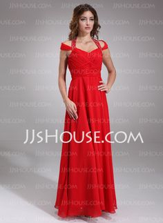 A-Line/Princess Halter Floor-Length Chiffon Charmeuse Homecoming Dresses With Ruffle Beading (022016851)