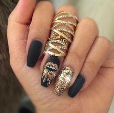 Nails, black & gold, coffin, square, ballerina