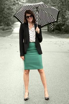 Outfit of the Day - Polka dots and teal green pencil skirt with black blazer + white