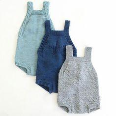 En oppskrift har blitt til tre forskjellige rompere. Knitting For Kids, Baby Knitting Patterns, Baby Patterns, Baby Outfits, Kids Outfits, Knitted Baby Clothes, Knitted Romper, Romper Pattern, Baby Kind