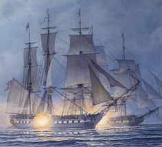 Impresión de color de agua original. Batalla famosa de John Paul Jones con Serapis inglés ganando la batalla pero perder su nave.